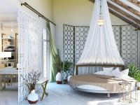 Круглая кровать — всегда захватывающая атмосфера в спальне + фото