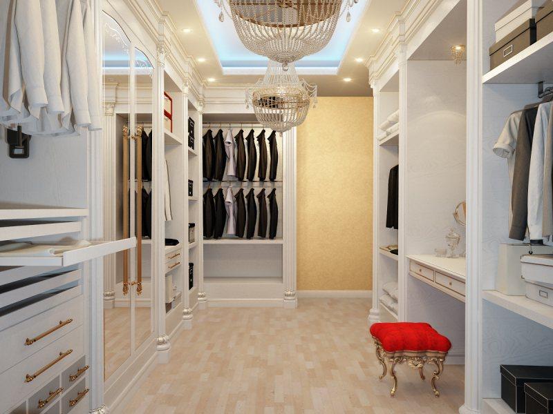 Фото дизайна гардеробной с окном