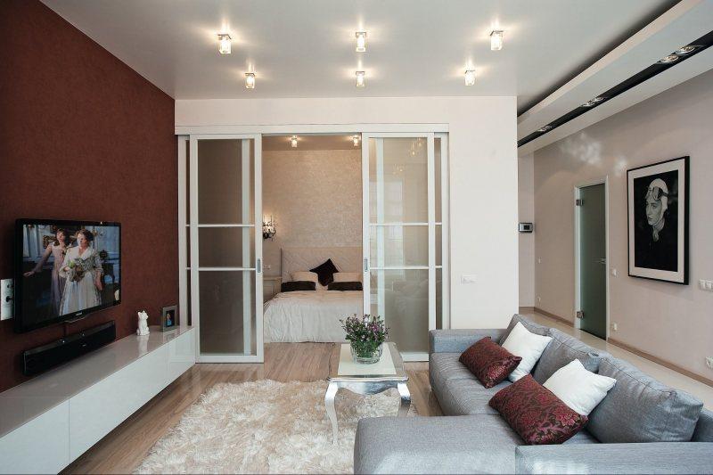 Фото дизайна комната с нишей