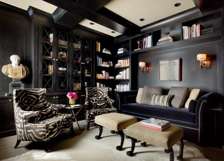 Черные шкафы в интерьере гостиной