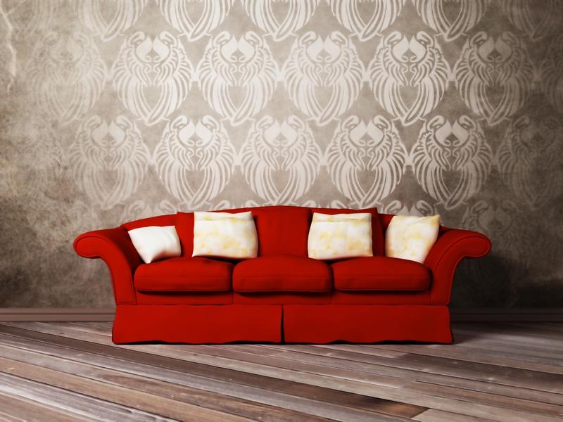 Krasnyiy divan v interere 16