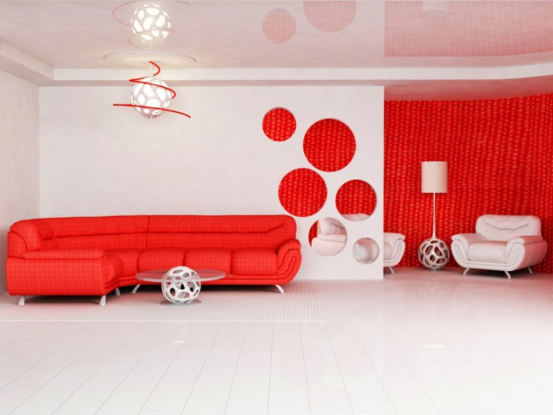 Krasnyiy divan v interere 17
