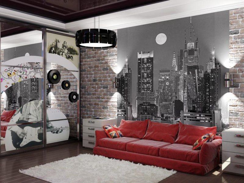 Krasnyiy divan v interere 2