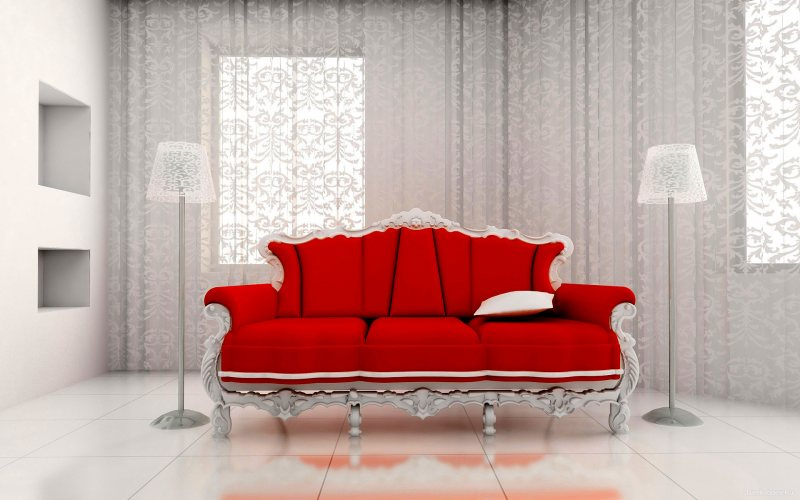 Krasnyiy divan v interere 29
