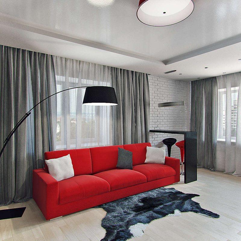 Krasnyiy divan v interere 44