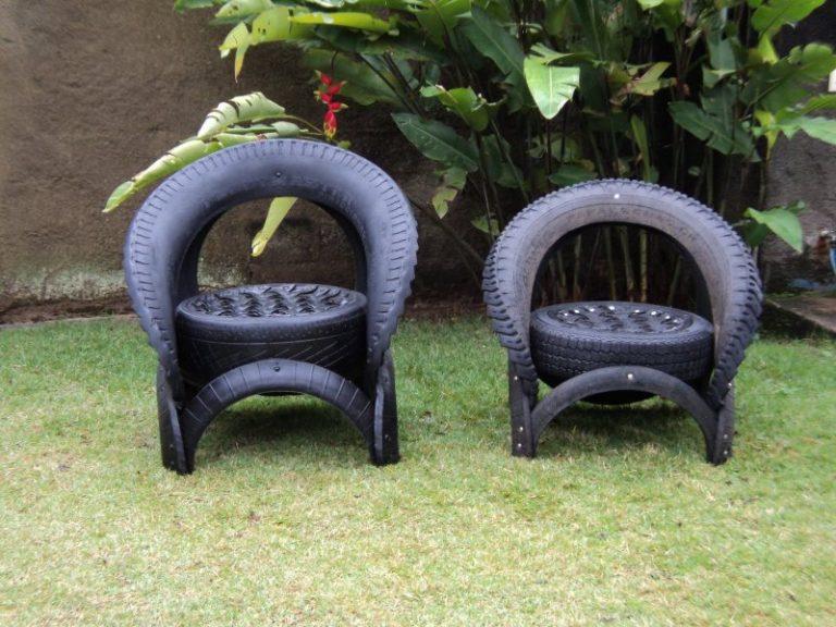Скамейка из шин для сада и огорода своими руками мастер класс 31
