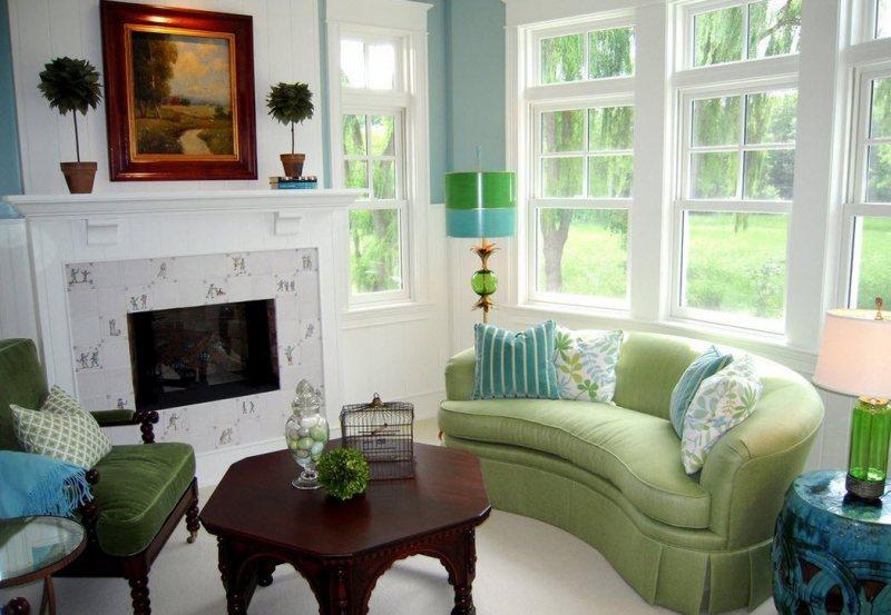 Sochetanie zelenogo tsveta v interere 15