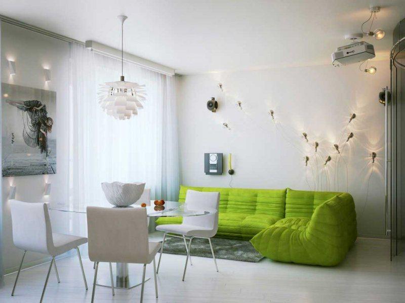 Sochetanie zelenogo tsveta v interere 38
